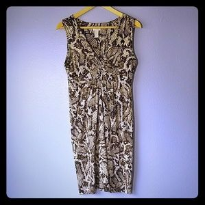 Chico's Snakeskin Empire Twist Waist Dress